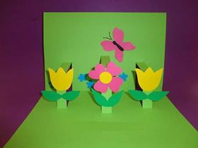 儿童怎么做教师节立体花丛贺卡的手工教程