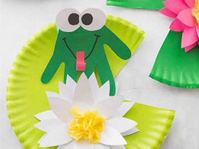 幼儿园怎么用纸盘做夏日荷塘的手工教程