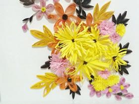 怎么手工做衍纸菊花画的方法图解