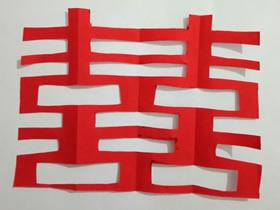 怎么剪纸结婚囍字的折法和剪法图解