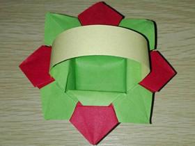 手工简单纸花篮怎么折的图解教程