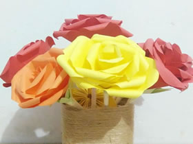 怎么手工做彩纸玫瑰花的制作过程图解