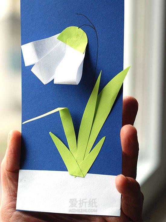 怎么做代表希望的雪花莲花朵贺卡的制作方法- www.aizhezhi.com