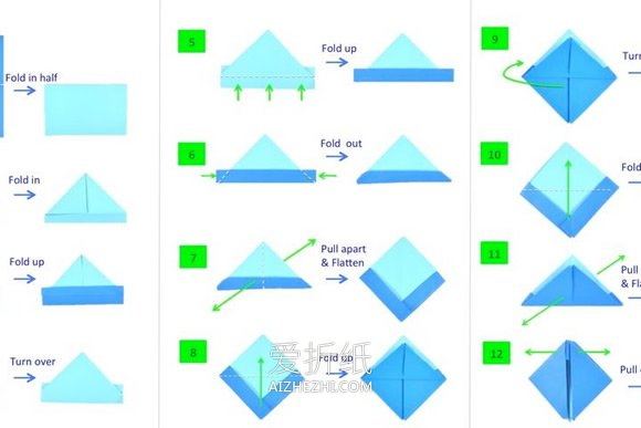 儿童手工折纸彩虹纸船怎么折的图解教程 爱折纸网