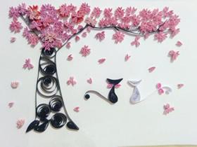 怎么做情人节衍纸画教程 樱花树下的猫咪情侣