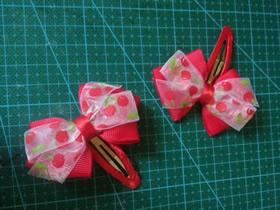 怎么用缎带纱布做儿童蝴蝶结发夹的制作方法