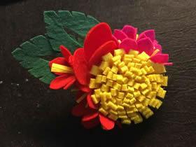 怎么用不织布做美丽花朵的布艺手工教程