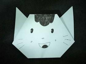 幼儿手工折纸猫头怎么折的简单图解教程