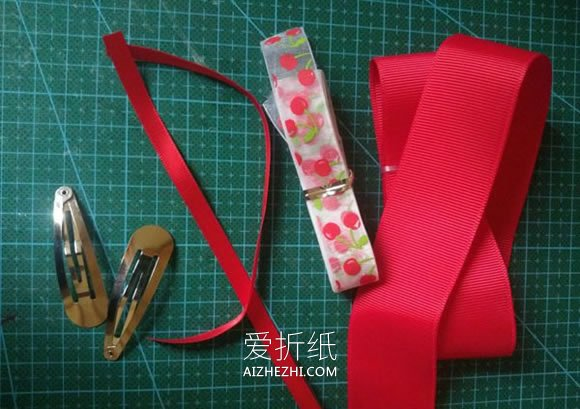 怎么用缎带纱布做儿童蝴蝶结发夹的制作方法- www.aizhezhi.com
