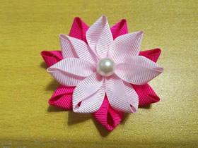 怎么做缎带莲花发夹头花的制作方法图解教程
