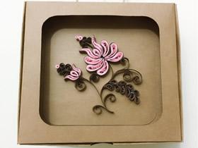 怎么做双色衍纸花装饰画的手工制作教程
