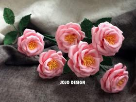 怎么做粉色纸藤玫瑰花的手工制作教程