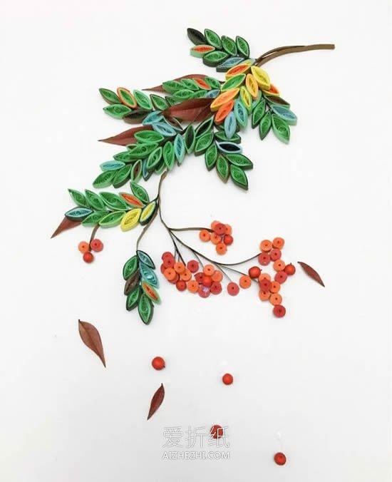 小学生做的新年贺卡_怎么做长果子枝条衍纸画的制作方法图解_爱折纸网