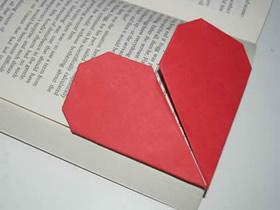 怎么简单折纸爱心书签的折法步骤图解