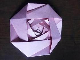 怎么折纸制作三层嵌套玫瑰花的折法图解