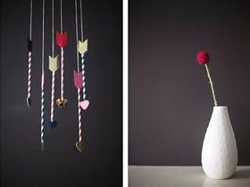 怎么用吸管做情人节爱情之箭挂饰的制作方法
