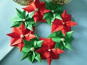 怎么手工折纸圣诞花环的折法步骤图解