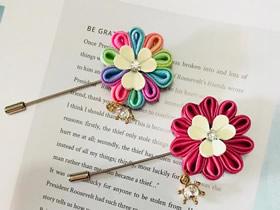 怎么做缎带花胸针的制作方法图解教程