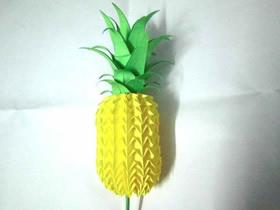 怎么折纸立体菠萝和叶子的折法图解步骤