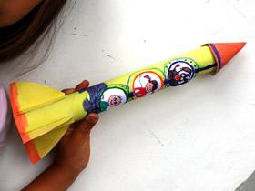 保鲜膜筒怎么废物利用 手工制作儿童玩具火箭