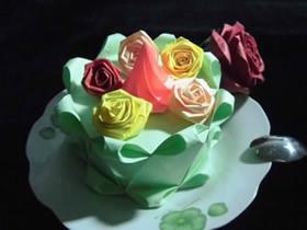 怎么折纸立体裱花蛋糕的折法步骤图解
