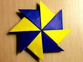 怎么折纸八角双色飞镖/风车的折法图解教程