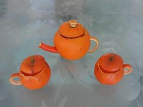 橘子皮怎么手工制作迷你茶具的方法教程