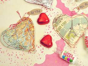 怎么做情人节地图爱心零食袋/礼物袋制作教程