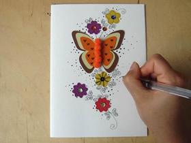 怎么做精美蝴蝶花朵贺卡的手工制作方法