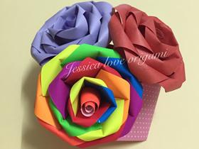 怎么做七色彩虹纸玫瑰花的折叠方法图解