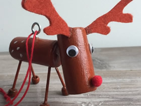 红酒瓶塞怎么废物利用 手工制作圣诞麋鹿挂饰