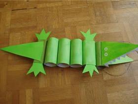 幼儿园怎么做卷纸芯鳄鱼的手工制作教程