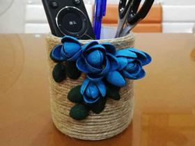 胶带筒和开心果壳怎么废物利用制作笔筒