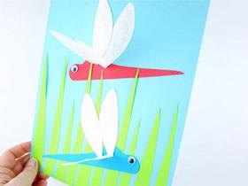 幼儿怎么做蜻蜓纸贴画的手工制作教程