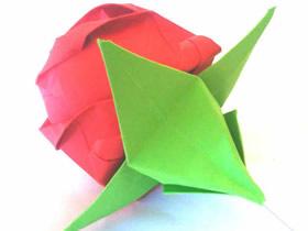 怎么简单折纸玫瑰花花萼的折法步骤图解