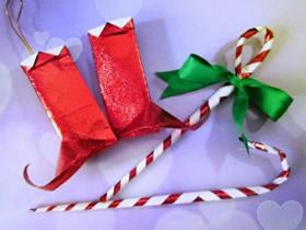 怎么简单折纸圣诞靴子和手杖的折法步骤图解