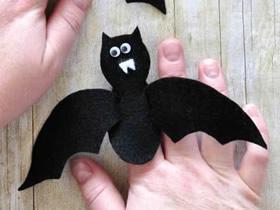 怎么做万圣节毛毡布蝙蝠手偶的制作方法