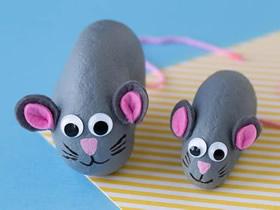 怎么用石头做可爱小老鼠的手工制作教程