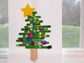 怎么做冰棍棒圣诞树粘贴画的手工制作方法