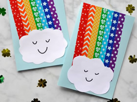 怎么用胶带纸做漂亮彩虹贺卡的制作方法图解
