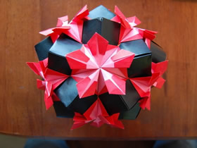 怎么手工做美丽纸花球的折纸过程图解