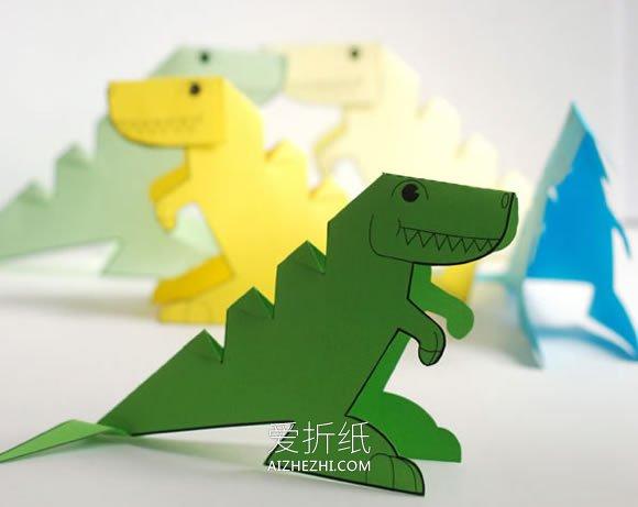 用卡纸做手工食物_怎么用卡纸做立体恐龙的手工制作教程_爱折纸网