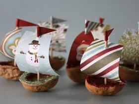 怎么用核桃壳做小帆船的手工制作方法教程