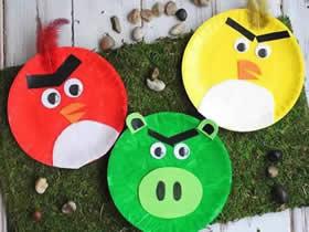 怎么用纸盘做愤怒的小鸟手工制作教程