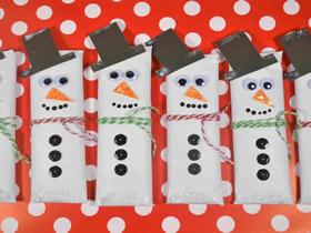 怎么做冬季圣诞节雪人糖果包装的制作方法