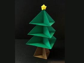 儿童怎么简单折纸圣诞树的折法过程步骤