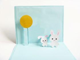 怎么做中秋节立体兔子贺卡的制作过程图解