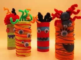 怎么做万圣节卷纸芯小怪物的手工制作方法