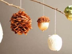 怎么用皱纹纸和蛋壳做橡子、松果挂饰的方法