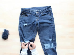 怎么改造制作破洞牛仔裤的方法图解